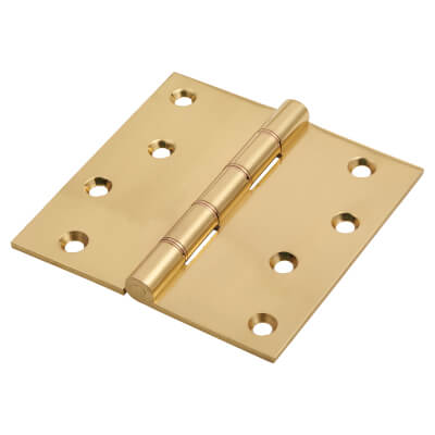 Jedo Quality Projection Hinge - 102 x 102 x 4mm - Polished Brass