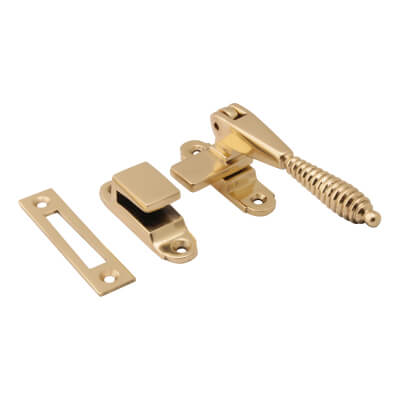 Hampstead Reeded Hook & Plate Window Fastener - Polished Brass