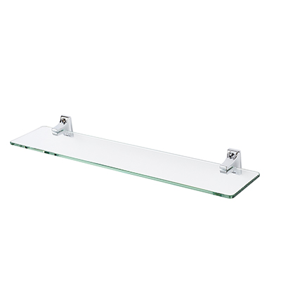 Croydex Sutton Glass Shelf - 500mm - Polished Chrome)
