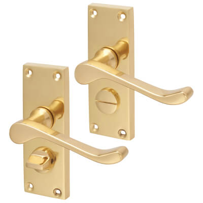 Aglio Victorian Scroll Door Handle - Privacy Set - Polished Brass