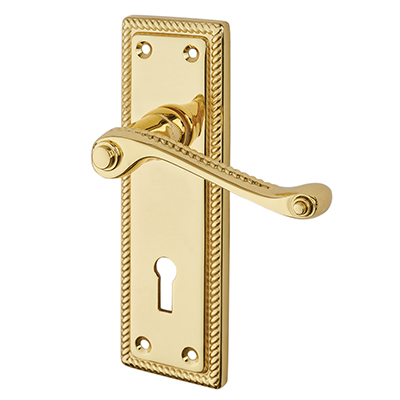 Touchpoint Budget Rope Edge Scroll Door Handle - Keyhole Lock Set - Polished Brass