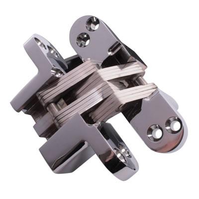 Tago Concealed Soss Hinge - 117 x 29mm - Polished Chrome - Pair)