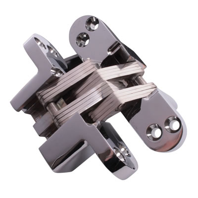 Tago Concealed Hinge - 117 x 29mm - Polished Chrome - Pair