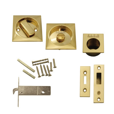 KLÜG Square Flush Privacy Set with Bolt - PVD Brass)