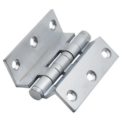 Cranked Ball Bearing Hinge - 75 x 3mm - Satin Chrome - Pair