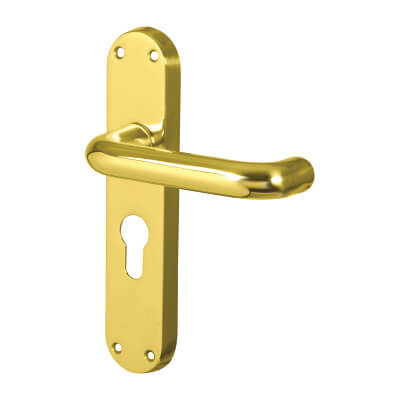 Carlisle Brass 19mm Return to Door Handle - Euro Lock Set - Polished Brass