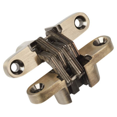 Tago Concealed Soss Hinge - 60 x 13mm - Antique Brass - Pair)