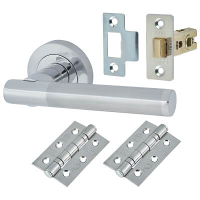 Touchpoint Bella Door Handle - Door Kit - Polished/Satin Chrome)