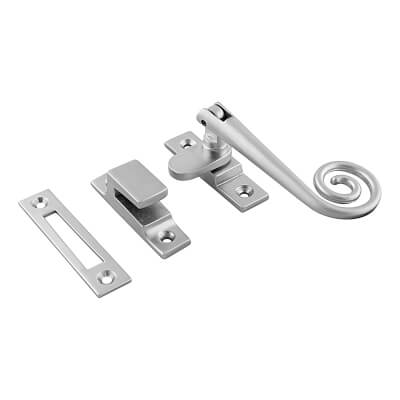 Hampstead Open Curl Hook & Plate Window Fastener - Soft Satin Chrome