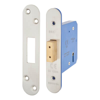 A-Spec Architectural 5 Lever Deadlock - 78mm Case - 57mm Backset - Radius - Satin Stainless