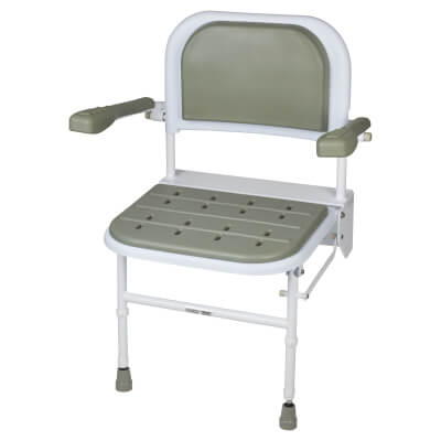 Nymas Standard Wall Mounted Shower Seat - Grey Padding