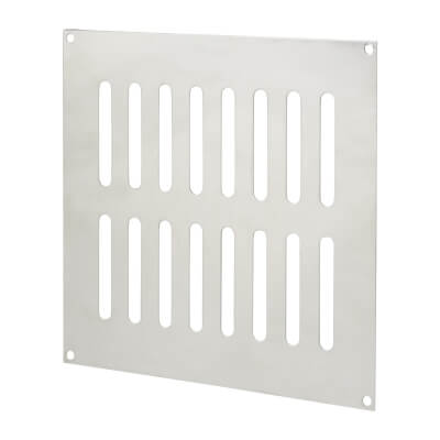 Plain Slotted Vent - 242 x 242mm - 13500mm2 Free Air Flow - Polished Stainless Steel