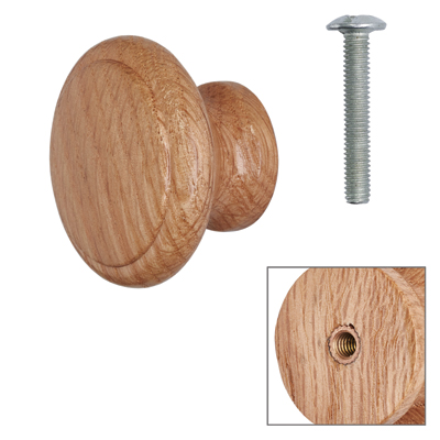 Cabinet Knob - Light Oak Lacquered - with Bolt & Insert - 35mm - Pack of 5