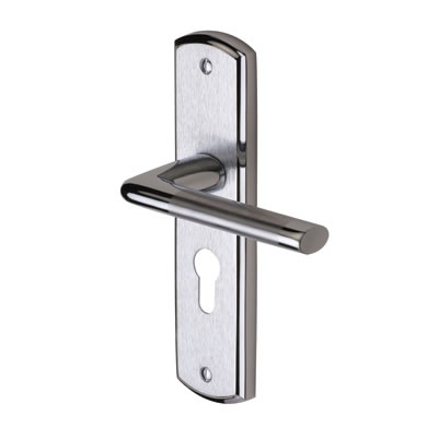 M Marcus Lena Door Handle - Euro Lock Set - Satin/Polished Chrome