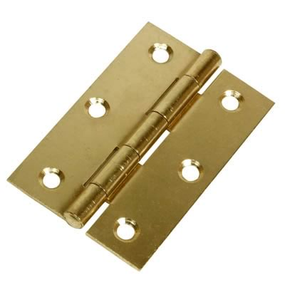 Steel Hinge - 90 x 55mm - Brass Plated