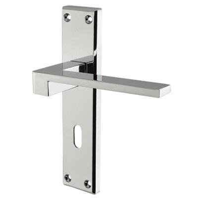 Carlisle Brass Equi Door Handle - Keyhole Lock Set - Polished Chrome