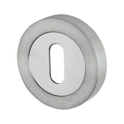 Touchpoint Escutcheon - Keyhole - Satin/Polished Chrome