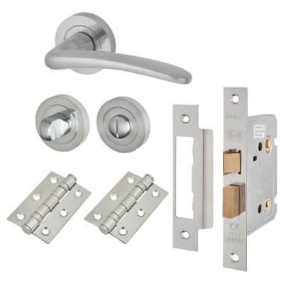 Touchpoint Eloise Lever Door Handle - Bathroom Lock Kit - Satin Chrome)