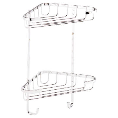 Croydex Wirework Shower Small Corner Basket - Two Tier - Stainless Steel