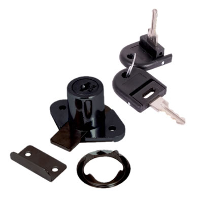 Drawer Lock - 19 x 22mm - Keyed to Differ - Black Nickel