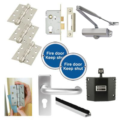 Light Duty Lever on Backplate Fire Door Kit with Hold Open Device - Satin Aluminium