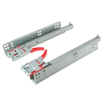 Motion Base Mount Drawer Runner -  Soft Close - Single Extension - 350mm - Zinc