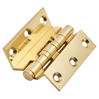 Cranked Ball Bearing Hinge - 75 x 3mm - Polished Brass)