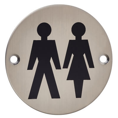 Unisex Toilet Door Sign - 75mm - Satin Stainless Steel)