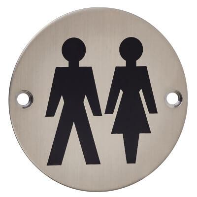 Unisex Toilet Door Sign - 75mm - Satin Stainless Steel)