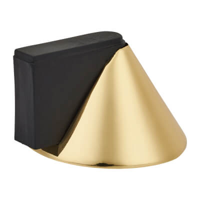 Designer Conical Door Stop - 40 x 32mm - Polished Brass