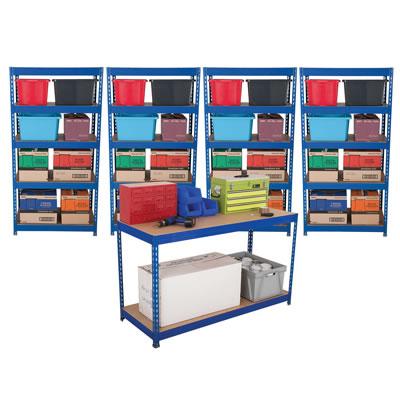 4 Shelf Shelving and Workbench Kit - 1760 x 900 x 600mm + 1 Bench 920 x 1500 x 600mm