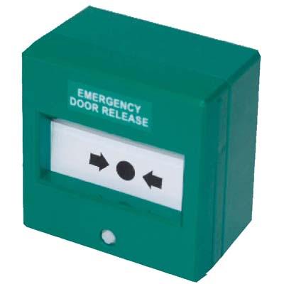 Green Break Glass Unit - 87 x 87mm - Double Pole
