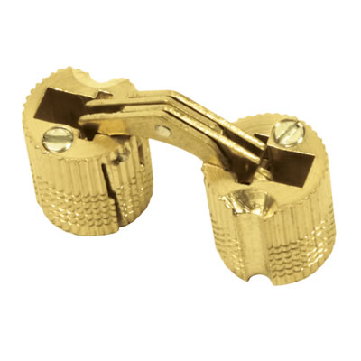 Concealed Rounded Cabinet Hinge - 14mm - Polished Brass - Pair