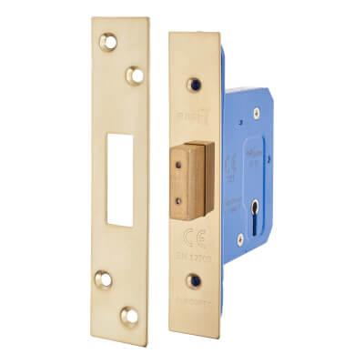 A-Spec Architectural 3 Lever Deadlock - 65mm Case - 44mm Backset - PVD Brass