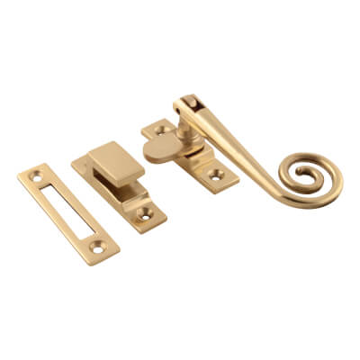 Hampstead Open Curl Hook & Plate Window Fastener - Polished Brass)