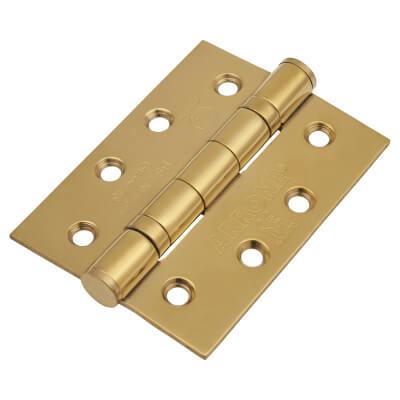 Enduro Twin Ball Bearing Hinge - 102 x 76 x 3mm - Brass Plated 304 Stainless Steel