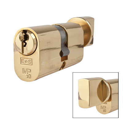 Eurospec MP10 - Oval Cylinder and Turn - 32[k] + 32mm - Polished Brass  - Keyed to Differ