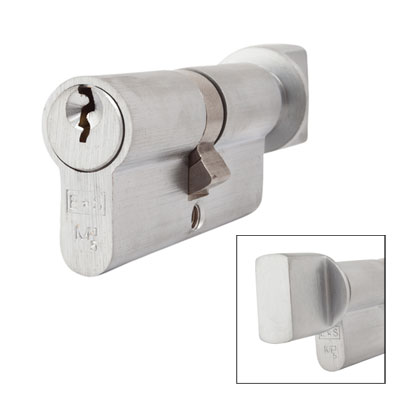 Eurospec MP5 - Euro Cylinder and Turn - 35[k] + 35mm - Satin Chrome  - Keyed to Differ