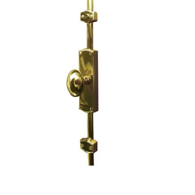 French Style Oval Knob Locking Espagnolette Bolt - Polished Brass)