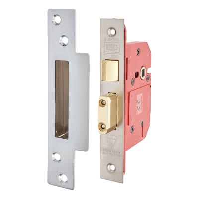 UNION® 2200S Strongbolt BS3621:2007 5 Lever Sashlock - 68mm Case - 45mm Backset - Satin Stainle