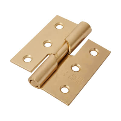 Rising Butt Hinge - 75 x 70 x 2.5mm - Right Hand - Brass Plated