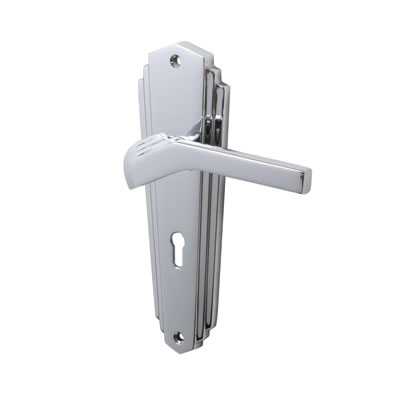 M Marcus Waldorf Door Handle - Keyhole Lock Set - Polished Chrome