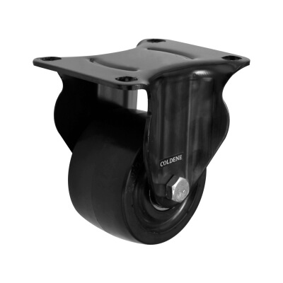 Coldene Low Level and High Load Castor - Fixed - 200kg Maximum Weight - Black)