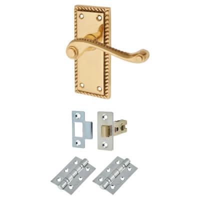 Georgian Handle Door Kit - Short Latch Set - Polished Brass