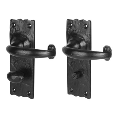Elden Windsor Door Handle - Bathroom Set - Antique Black Iron