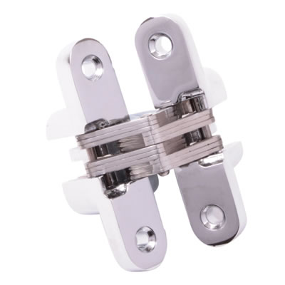 Tago Concealed Hinge - 117 x 25mm - Polished Chrome - Pair