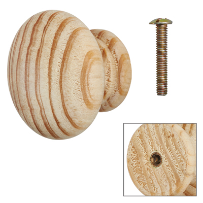 Touchpoint Cabinet Knob with Bolt & Insert - 50mm - Pine