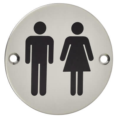 Unisex Toilet Door Sign - 75mm - Polished Stainless Steel