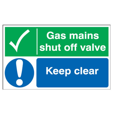 Gas Mains Shut Off Valve/Keep Clear - 300 x 500mm