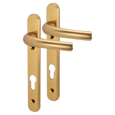 Hoppe Tokyo Multipoint Handle - uPVC/Timber - 92mm centres - 60-70mm door thickness - Gold